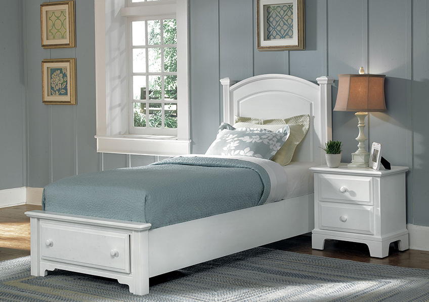 Panel Bed with Storage Footboard Twin & Full