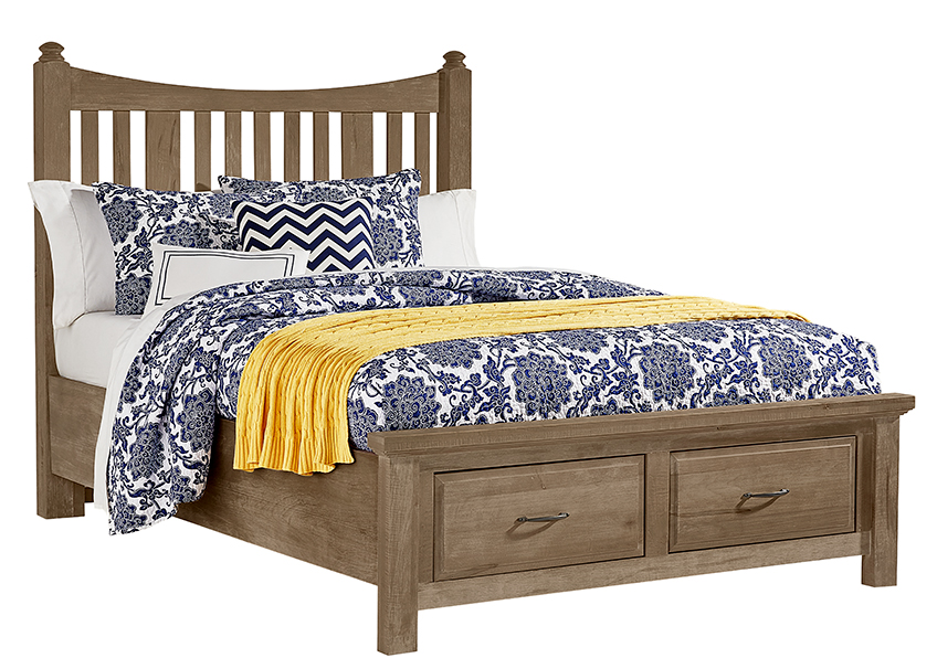 Slat Poster Bed with Storage Footboard