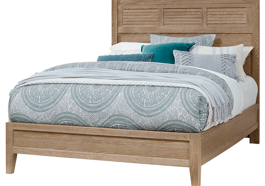 LOUVERED BED WITH LOW PROFILE FOOTBOARD IN DEEP SAND