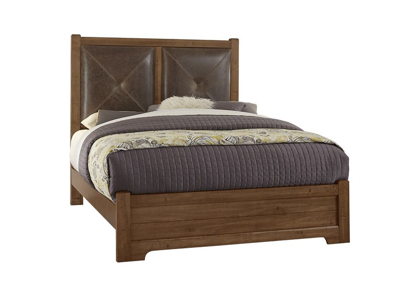 Leather Bed with Low Profile Footboard (amber finish shown)