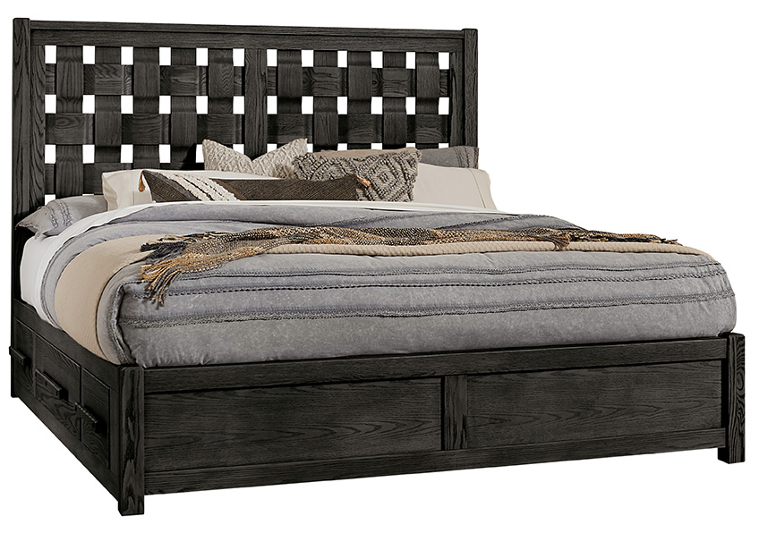 Queen - Basket Weave Bed with 1 Side Storage