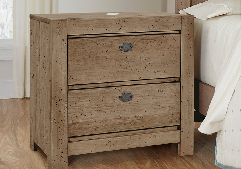 NIGHT STAND - 2 DRAWER W/CHARGER