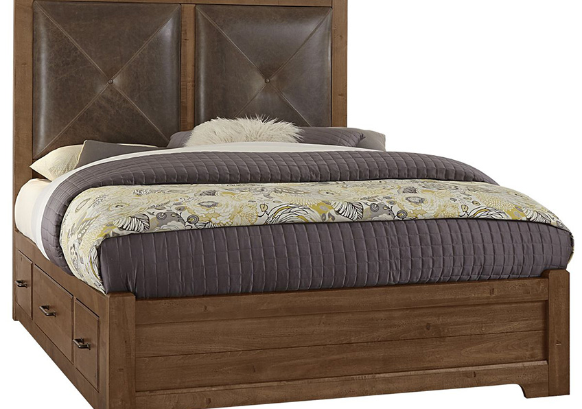Leather Bed with 1 Side Storage